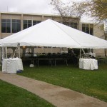 40' Wide, frame tent, tent with no center pole, white canopy, party tent