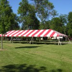 Red Striped Frame, carnival tent, party tent, fair tent, tent with no center poles, canopy