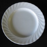 "Plate (6"", 7"" & 10""), dinner plate, dessert, plate, salad plate, white china, bread and butter, swirl pattern"