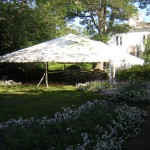 30' Wide, frame tent, tent with no center pole, white canopy, party tent