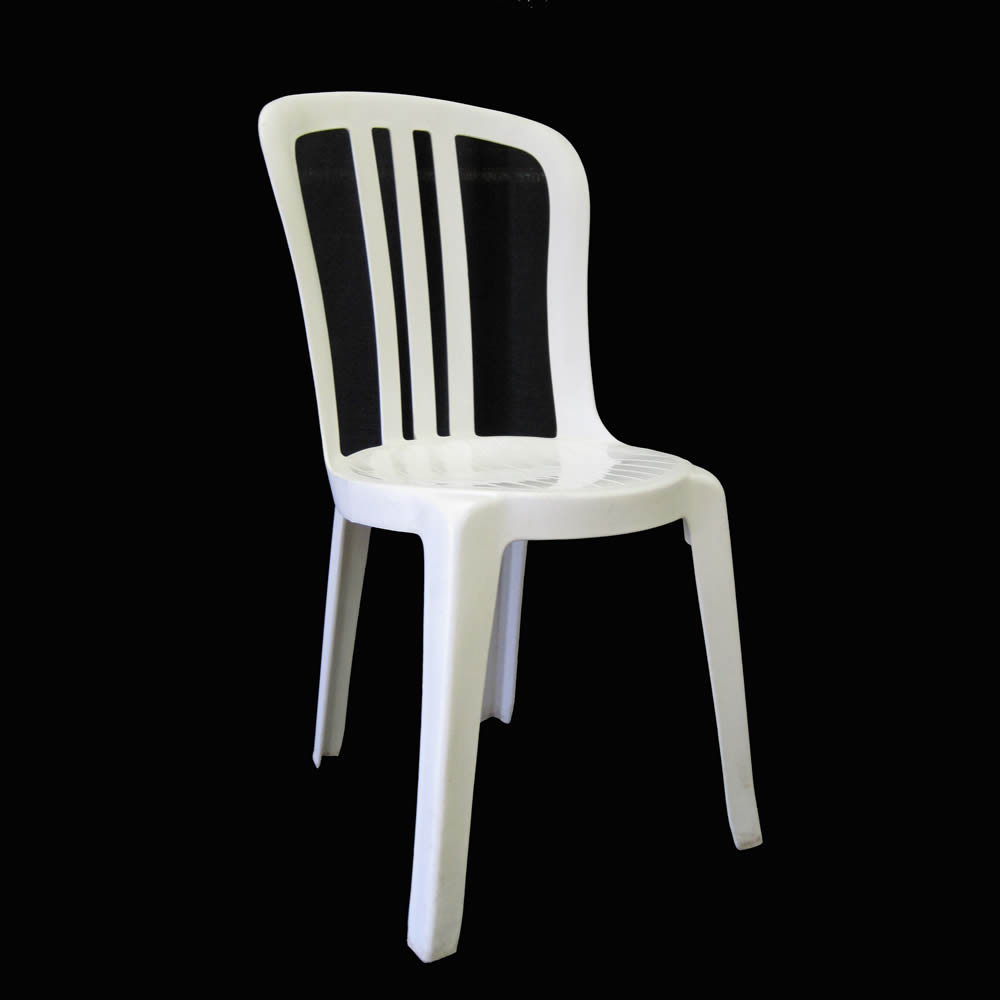 White Stackable Ice Cream Parlor Chair Patio Plastic Outdoor
