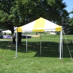 Yellow and White Striped, canopy, carnival tent, pole tent, customer set up tent, customer pick up tent